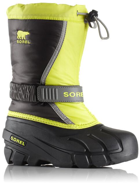 Sorel Kids Flurry Boots Dark Grey/Warning Yellow